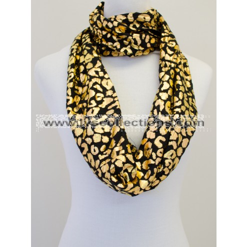 LC103 Infinity Viscose Scarf with Golden Leopard Print