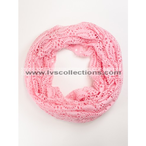 LVS1012 Lightweight Infinity Scarf with Round Patterns