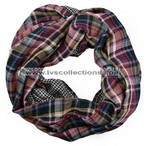 LVS125i Cotton Plaid Infinity Scarf