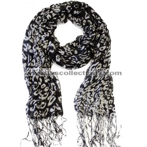 SJ01 Leopard Print Polyester Scarf