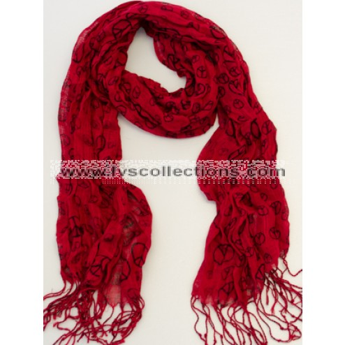 SJ02 Polyester Peace Sign Scarf