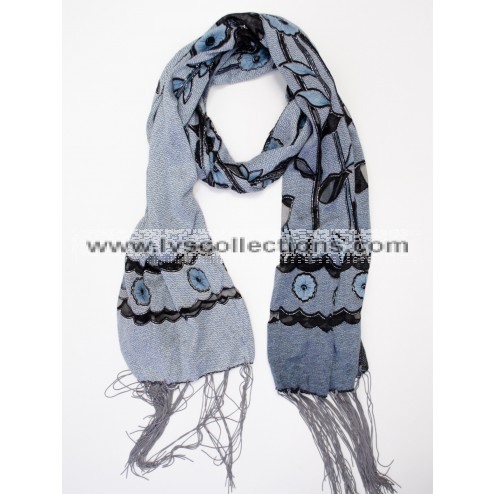 YH13 Translucent Small Daisies Scarf