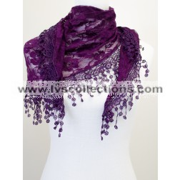 CH01 Triangle Solid Color Floral Lace Scarf