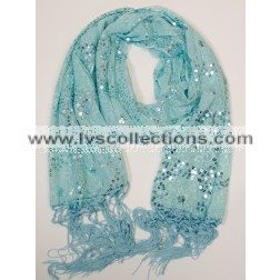 LP61 Sequin Floral Pattern Scarf