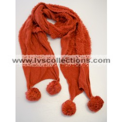 LVS111 Knit Solid-Color Scarf with Furry Balls