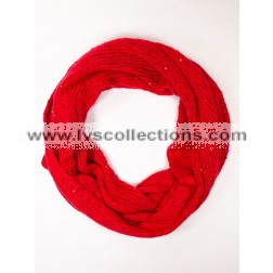 LVS1713 Solid Color Knit Infinity Scarf with Sequins - Assorted