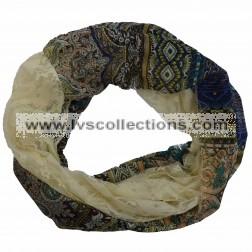 SAH005i Lace & Chiffon Infinity with Aztec Pattern