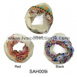 SAH009i Lace & Chiffon Infinity with Floral Pattern