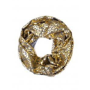LC113 Golden Leopard Print Infinity Scarf