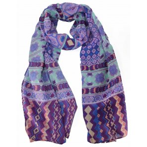 CH120 Viscose Scarf of Aztec Print W/Color Edge