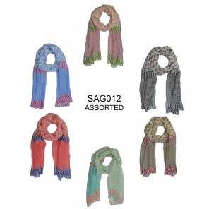SAG012 Viscose Aztec Pattern Scarf (Assorted)
